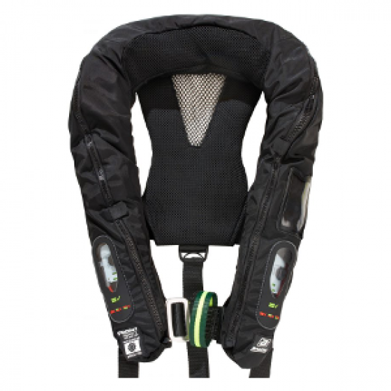BALTIC 305N Solas Legend, Inflatable, Twin Chamber, Black #2802 with Safety Harness, Spray Hood #2516 and Daniamant Automatic Intrinsically Safe Lifejacket Light #L6A-EX