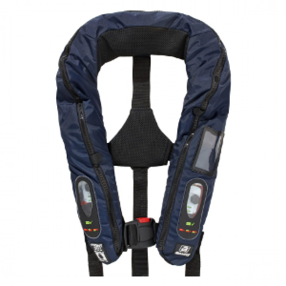 BALTIC 305N Solas Legend, Inflatable, Twin Chamber,  Navy #2804 with Safety Harness, Spray Hood #2516 and Daniamant Automatic Intrinsically Safe Lifejacket Light #L6A-EX