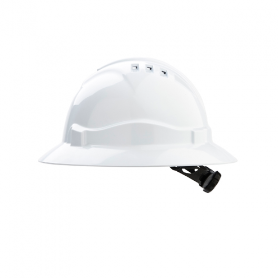 PROCHOICE White V6 Full Brim Vented Hard Hat with Ratchet Harness w Chinstrap