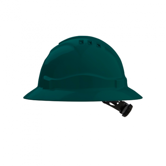 PROCHOICE Green V6 Full Brim Vented Hard Hat with Ratchet Harness w Chinstrap