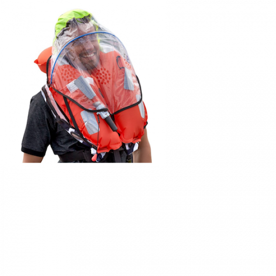BALTIC 305N Solas Legend, Inflatable, Twin Chamber,  PVC Orange #2801 with Safety Harness, Spray Hood #2516 and Daniamant Automatic Intrinsically Safe Lifejacket Light #L6A-EX