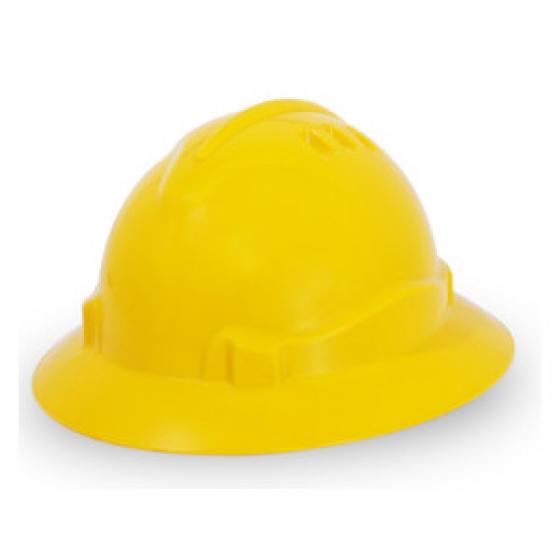PROGUARD Advanrim Full Brim Ratchet Helmet with Chinstrap. GREEN (Non-Vented)